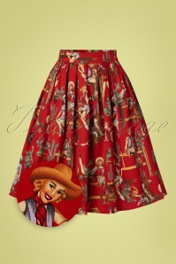 Banned Retro 50s Cowgirl Pleated Swing Skirt in Red