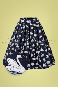Banned Retro 50s Summer Swan Pleated Swing Skirt in Navy