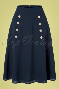 Banned Retro 50s Cute As A Button Skirt in Navy