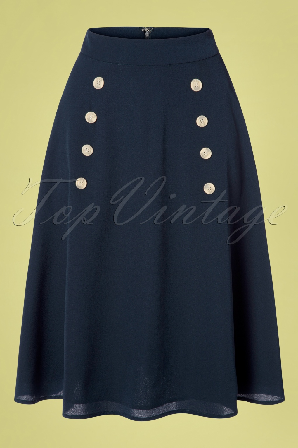 1940s Dresses and Clothing UK | 40s Shoes UK 50s Cute As A Button Skirt in Navy �38.00 AT vintagedancer.com