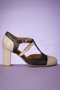 60s Elena Leather T-Strap Pumps in Black and Taupe