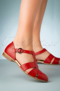60s Sylvia Leather Flats in Red