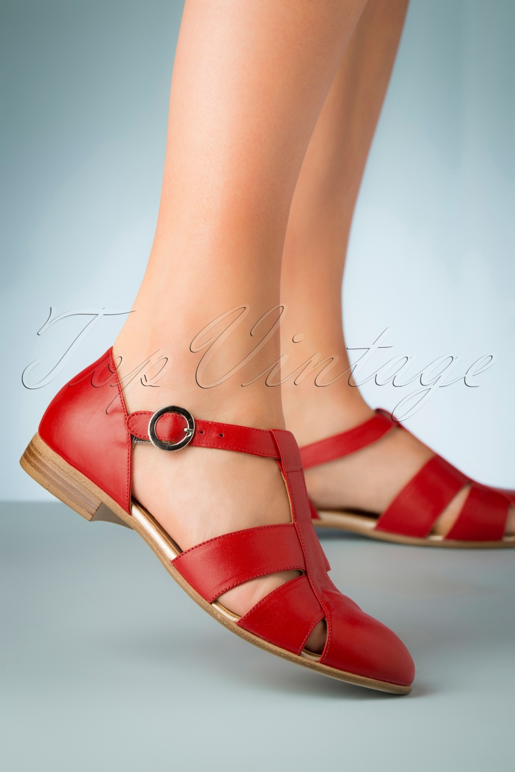 1960s Style Dresses, Clothing, Shoes UK 60s Sylvia Leather Flats in Red �100.92 AT vintagedancer.com
