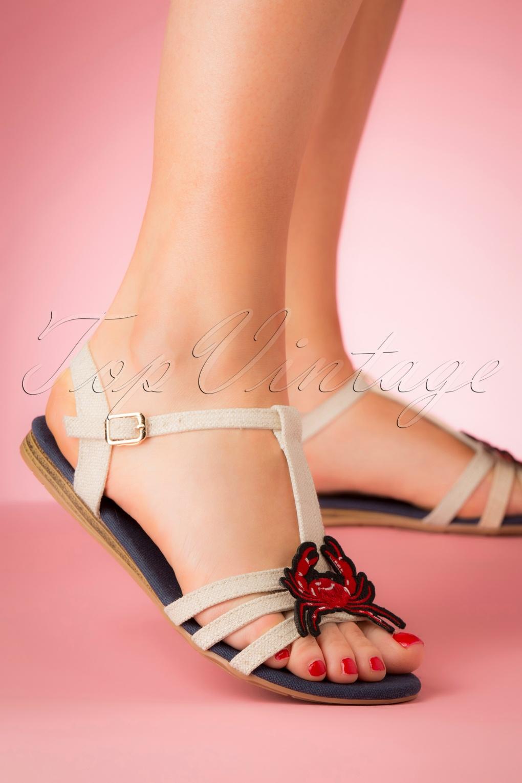 Vintage Sandals   Wedges, Espadrilles – 30s, 40s, 50s, 60s, 70s 60s Lottie Crab Sandals in Beige £33.68 AT vintagedancer.com