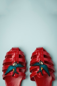 60s Phoebe Swallow Sandals in Red