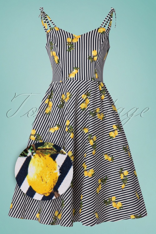 Banned Retro 30385 Dress Stripe Lemon 20190409 0002Z