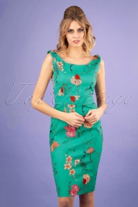 Banned 28537 Peacock Baroque Wiggle Dress in Teal 20181220 0100W