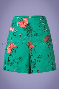Banned 28536 Peacock Baroque Shorts in Teal 20181220 002w