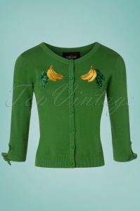 Collectif Clothing 27381 Sally Banana Cardigan in Green 20180813 002W