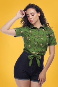 Collectif Clothing 27393 Sammy Wild West Print Tie Crop Top 20180813 0020W
