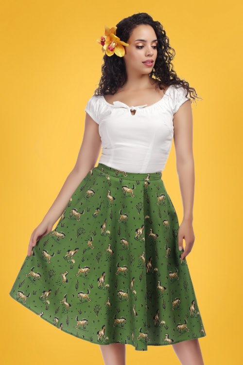 Collectif Clothing 27389 Mathilde Wild Horses Skirt 20181217 0020W
