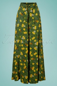Collectif Clothing 50s Kiko Pineapple Slice Palazzo Trousers in Green