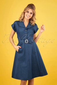 Seaside Diner Dress Années 50 en Bleu Chambray