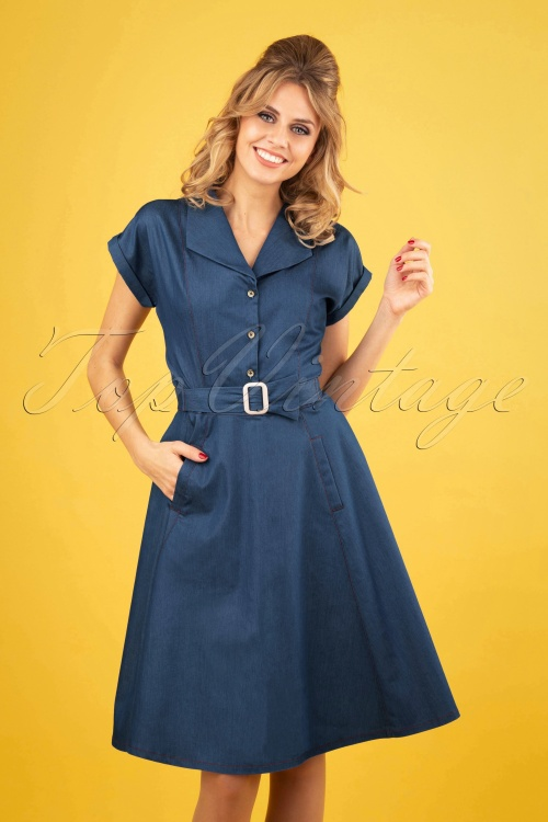 Banned 28475 Seaside Diner 50s Dress in Chambray 20181221 0110W
