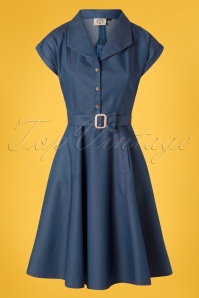 Banned 28475 Seaside Diner 50s Dress in Chambray 20181221 002W