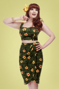 Collectif Clothing 27390 Kala Tropical Hibiscus Skirt 20180816 0020W