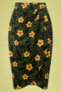 50s Kala Tropical Hibiscus Sarong Skirt in Black