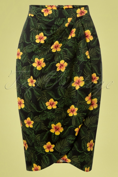 Collectif Clothing 27390 Kala Tropical Hibiscus Skirt 20180816 001W