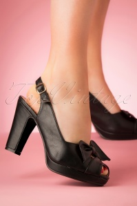 50s Susan Peep Toe Heels in Black