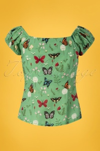 Collectif Clothing 27453 Dolores Butterfly Top in Green 20180813 004W