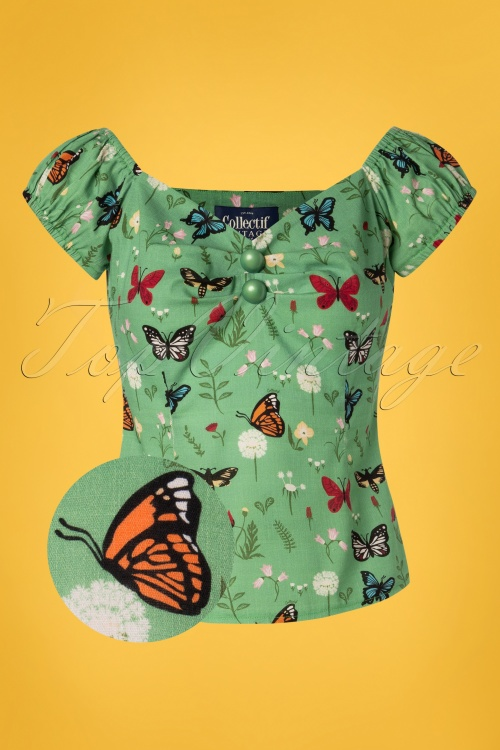 Collectif Clothing 27453 Dolores Butterfly Top in Green 20180813 001Z