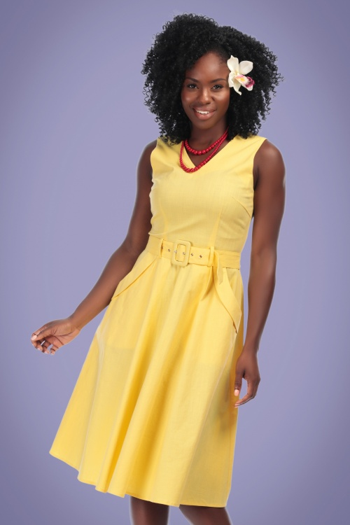 Collectif Vintage 27627 Swingdress Yellow Mavis Plain 20190410 0020W