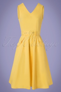 Collectif Vintage 27627 Swingdress Yellow Mavis Plain 20190410 0002W