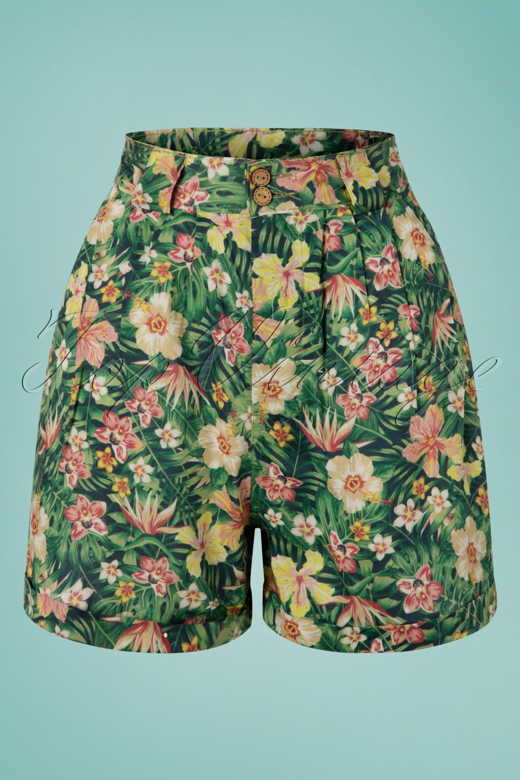 1950s Shorts History | Summer Clothing 50s Tricia Tropical Shorts in Green �34.54 AT vintagedancer.com