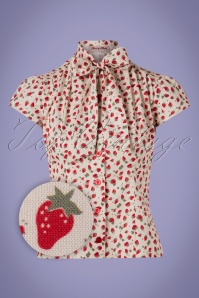 Heart of Haute 50s Estelle Strawberry Blouse in Ivory