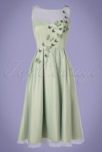 50s Tiana Butterfly Occasion Swing Dress in Mint Green