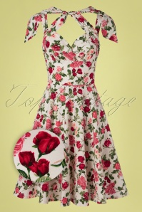 Victory Parade TopVintage Exclusive ~ Feline Roses Swing Dress Années 50 en Ivoire