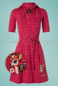 Tante Betsy Betsy Hatch Dress Années 60 en Rouge et Rose