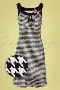 60s Josephine Houndstooth Dress in Black