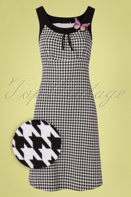 1960s Dresses | 60s Dresses Mod, Mini, Jackie O, Hippie 60s Josephine Houndstooth Dress in Black �70.05 AT vintagedancer.com