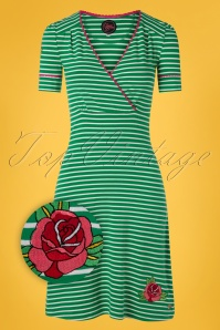 Tante Betsy 60s Auntie Breton Rose Dress in Green