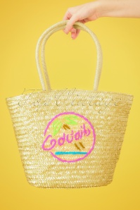 50s Cocktails Beach Bag in Natural