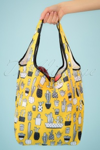 Collectif Clothing 27024 Crissa Bag Shopper Yellow Cacti Black White 20190320 001W