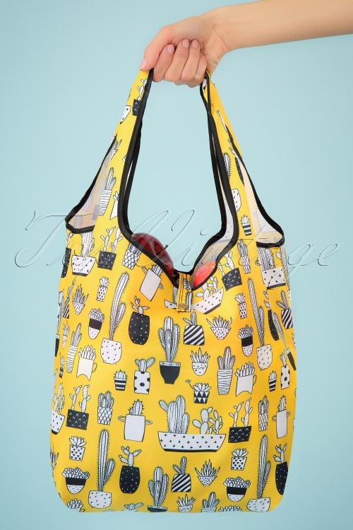 Collectif Clothing 27024 Crissa Bag Shopper Yellow Cacti Black White 20190320 001W