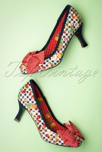 50s Diva Pumps in Red and Navy