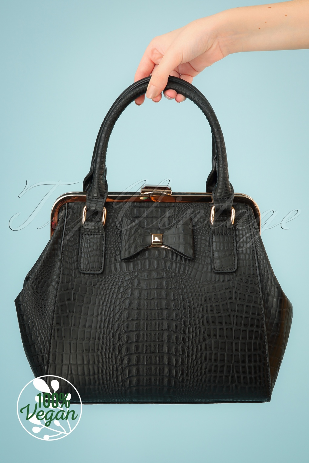 Vintage & Retro Handbags, Purses, Wallets, Bags 40s Molly Bag in Black �70.61 AT vintagedancer.com