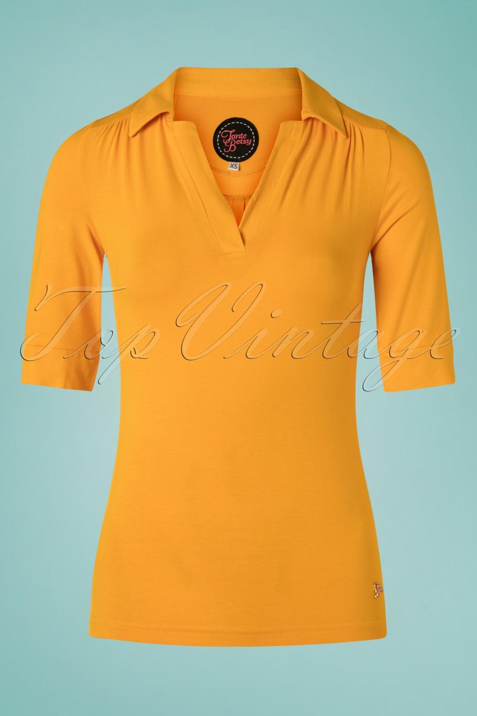 60s Shirts, T-shirt, Blouses | 70s Shirts, Tops, Vests 60s Nellie Shirt in Gold �39.60 AT vintagedancer.com