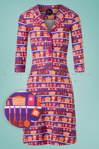 Tante Betsy 60s Typ Miep Kitschen Dress in Purple
