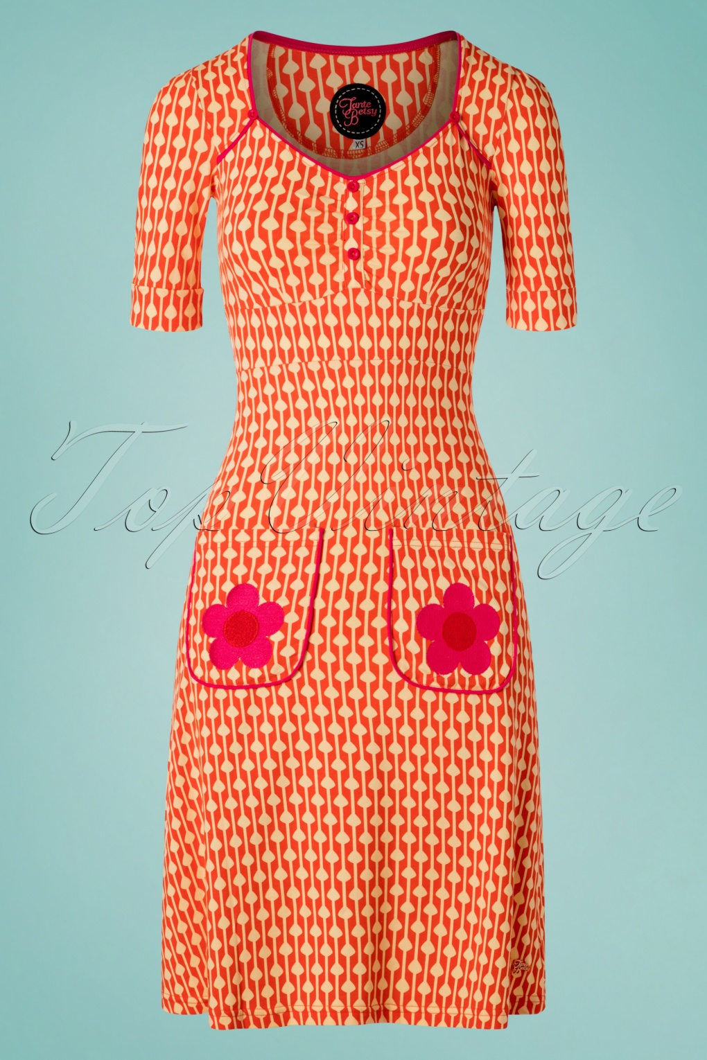 1960s Style Dresses, Clothing, Shoes UK 60s Lola Drops Dress in Orange �77.78 AT vintagedancer.com