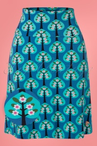 Tante Betsy 60s Hearts Tree A-Line Skirt in Blue