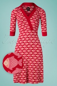 Tante Betsy Zoe Fish Dress Années 60 en Rouge