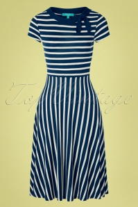 50s Rita Striped Dress in Navy and Cream