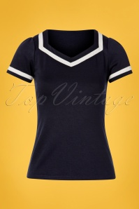 50s Sailor Top in Navy