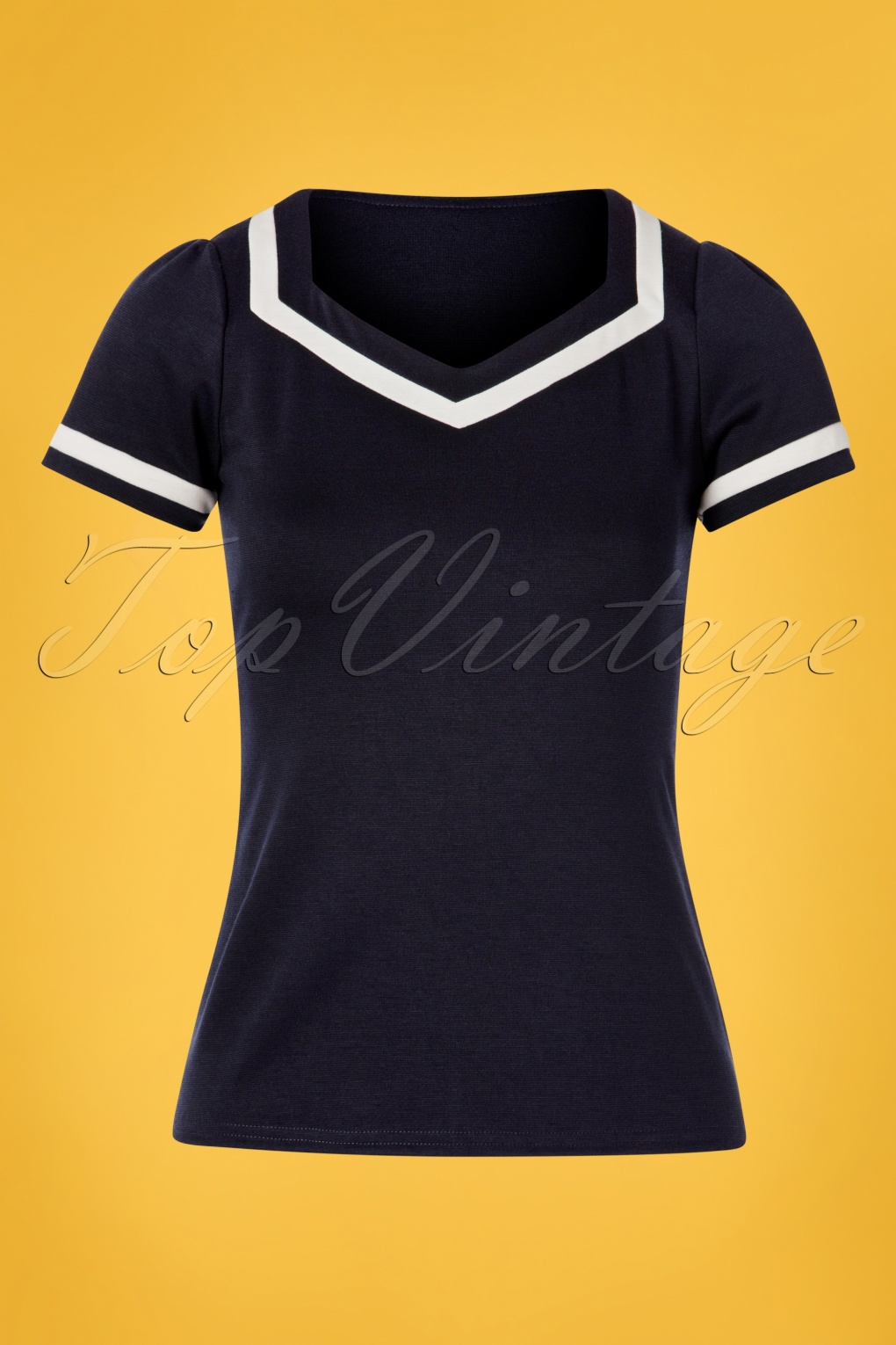 1940s Dresses and Clothing UK | 40s Shoes UK 50s Sailor Top in Navy �38.87 AT vintagedancer.com