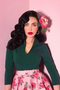 TopVintage exclusive ~ 50s Vixen Top in Hunter Green