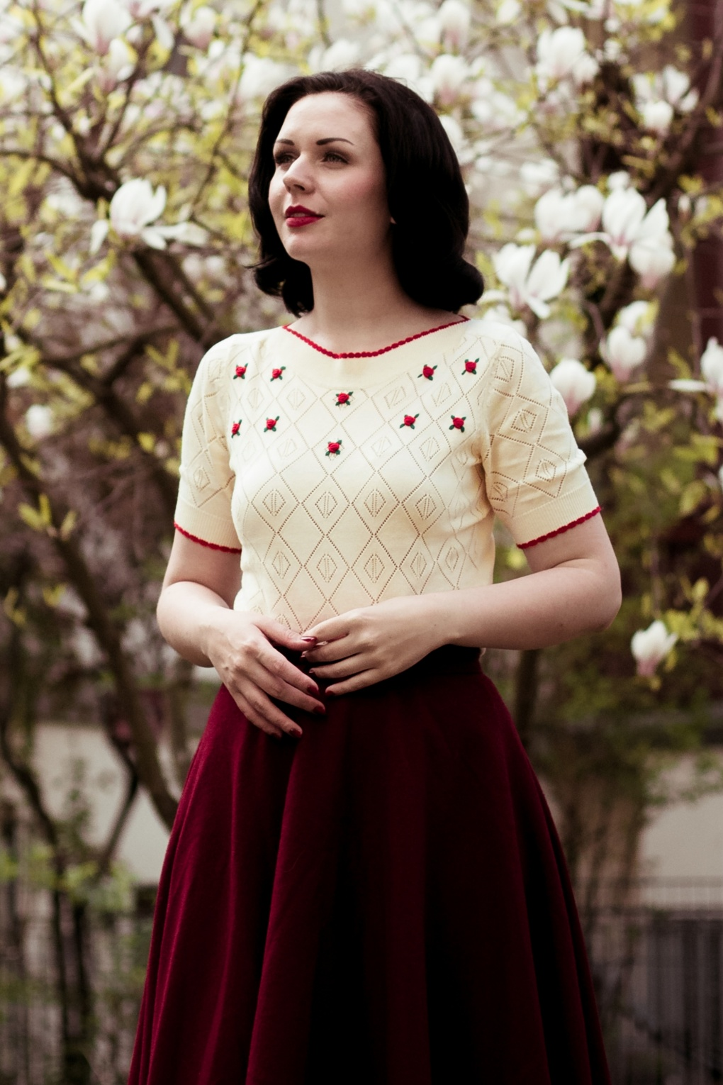 1950s Fashion History: Women's Clothing 50s Audrey Flower Ajour Top in Cream £77.78 AT vintagedancer.com